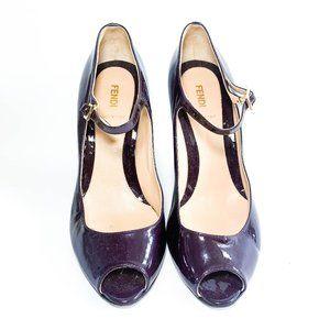Fendi Patent Leather Peep Toe Wedges